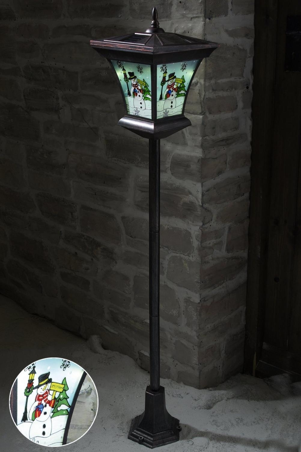 Snowman Lantern Garden Lampost Solar Powered Pathway Driveway for Outdoor Driveway Lanterns (Image 16 of 20)