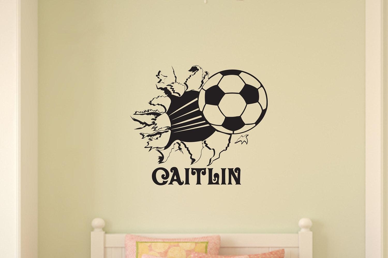 Soccer Ball Bursting Through Wall Vinyl Wall Decal Sticker Art Throughout Soccer Wall Art (View 13 of 20)