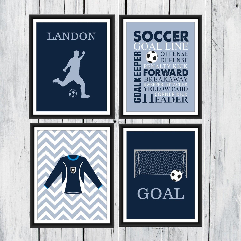 Soccer Wall Art – 4 Piece Set – Goal – Soccer Jersey – Soccer Word Inside Soccer Wall Art (View 16 of 20)
