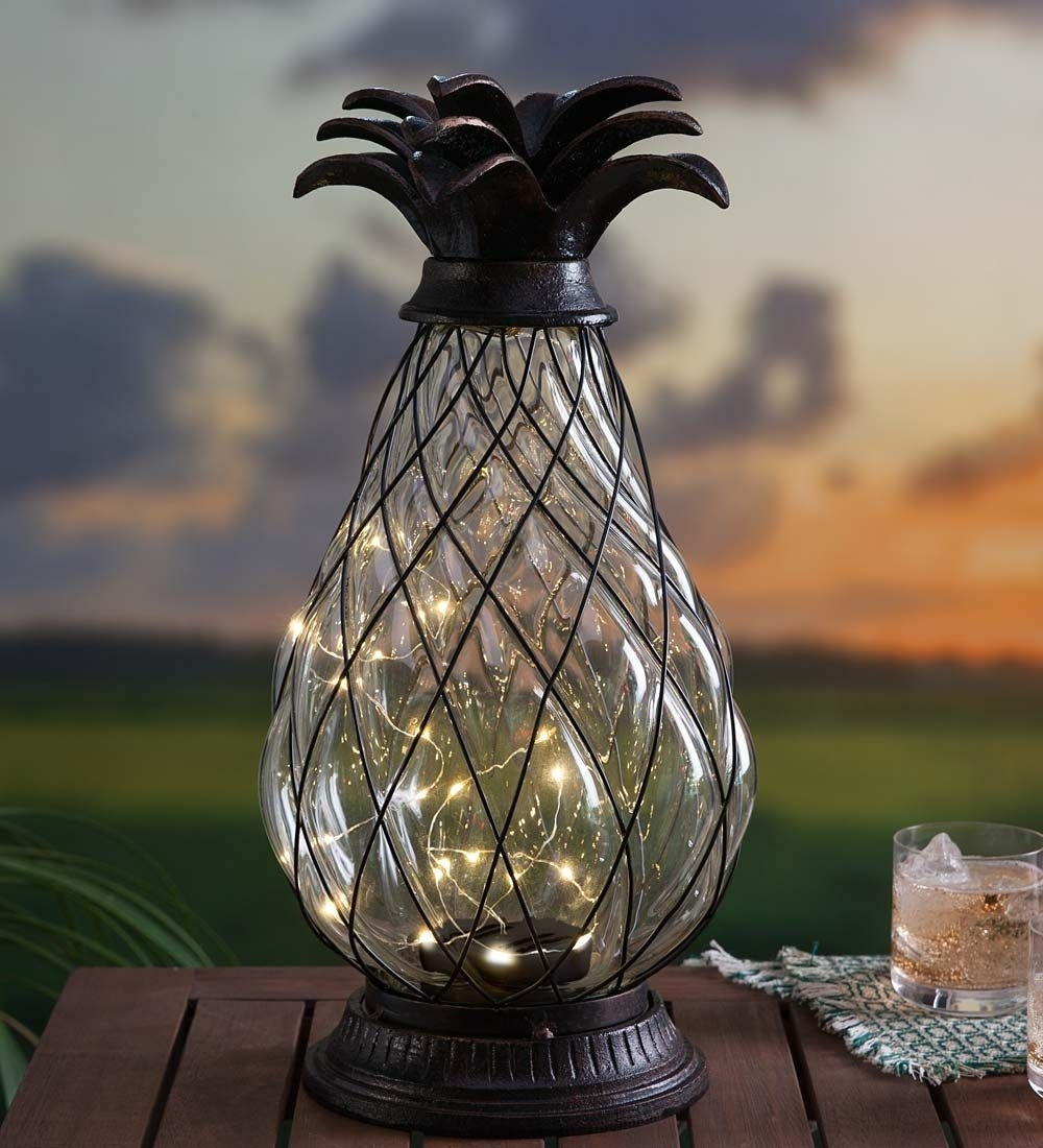Solar Glass Pineapple Lantern | Solar Accents | Outdoor Lighting pertaining to Outdoor Pineapple Lanterns (Image 20 of 20)