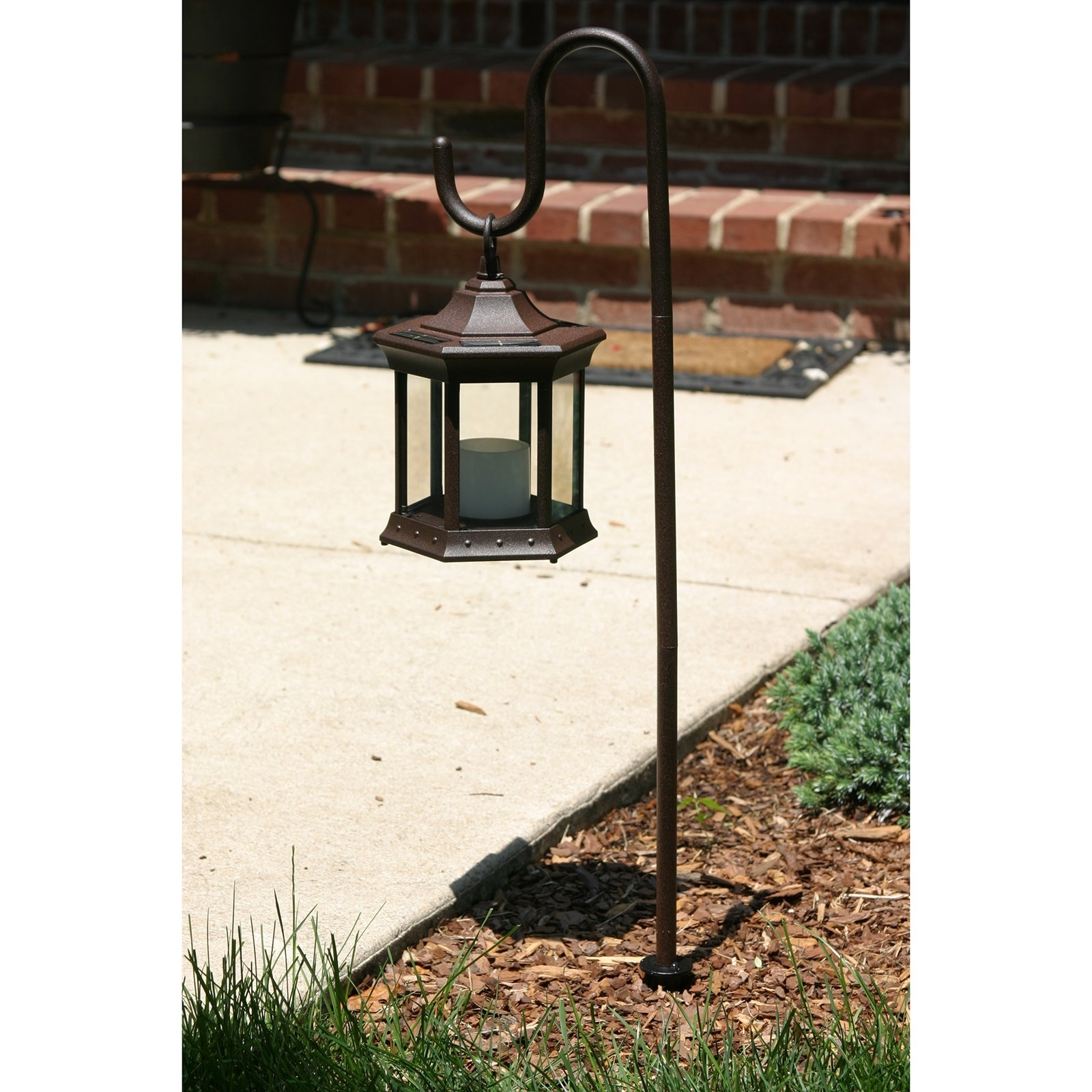 Solar Lantern With Shepherd's Hook - Walmart with regard to Outdoor Lanterns on Stands (Image 19 of 20)