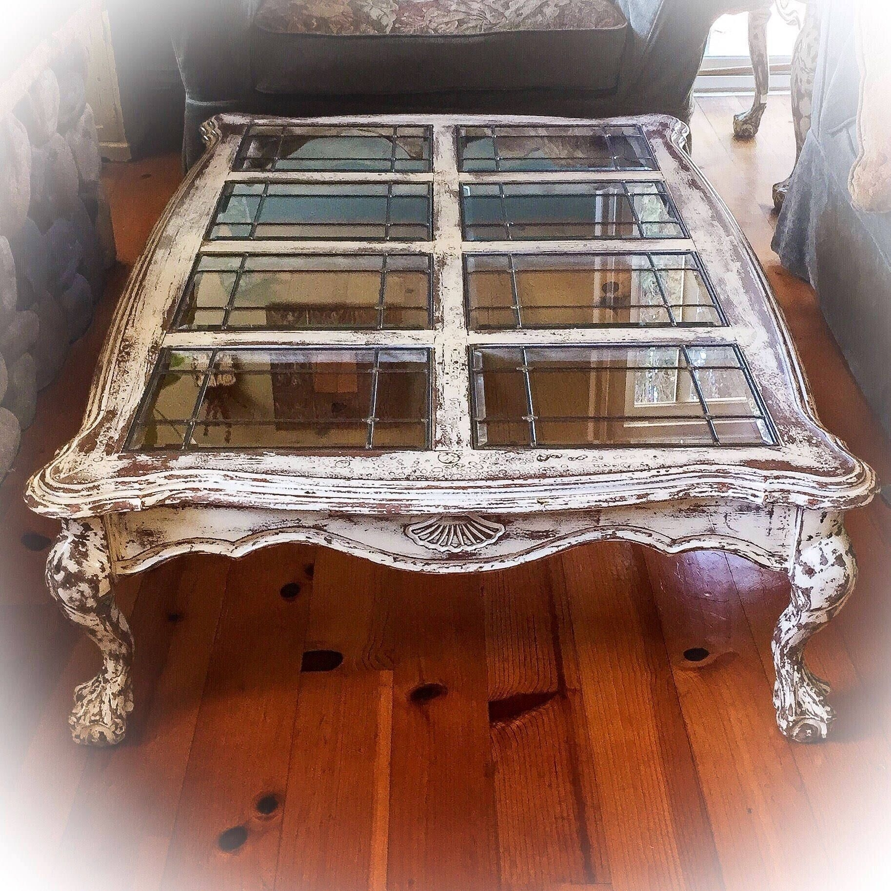 Sold – 5' Farmhouse Coffee Table, Antique White W/ Copper Undertones Regarding Large Scale Chinese Farmhouse Coffee Tables (View 17 of 30)
