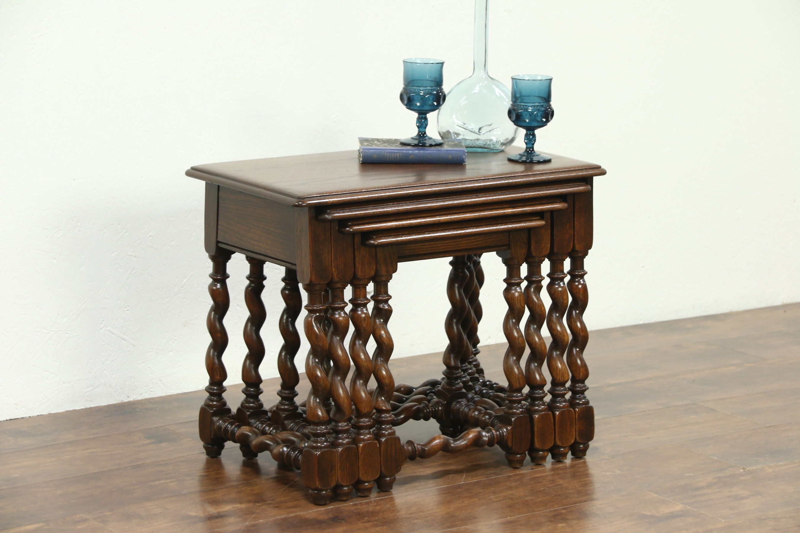 Sold - Set Of 4 Oak 1930 Vintage Nesting Tables, Carved Spiral in Barley Twist Coffee Tables (Image 23 of 30)