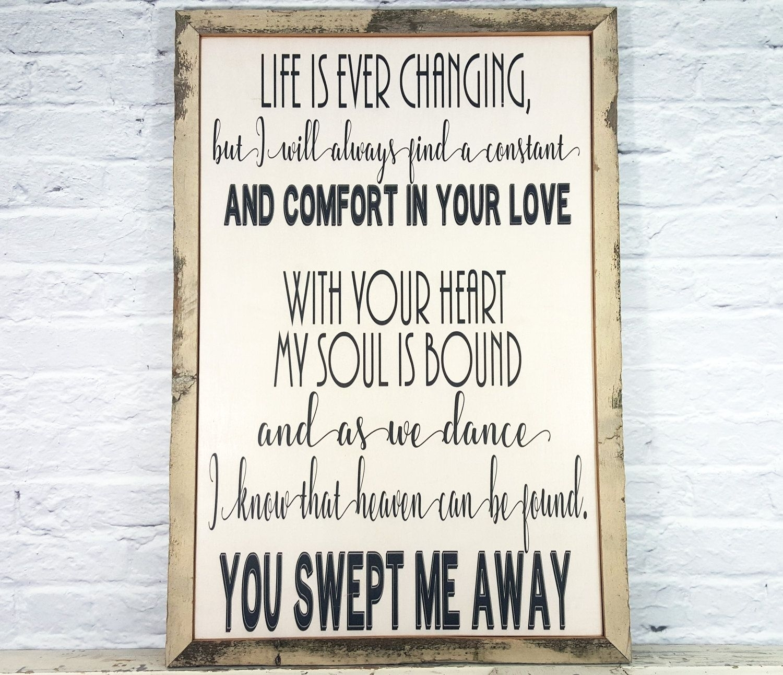 Song Lyric Art, Song Lyric Wall Art, Wood Sign, Wedding Song Lyric with Song Lyric Wall Art (Image 14 of 20)