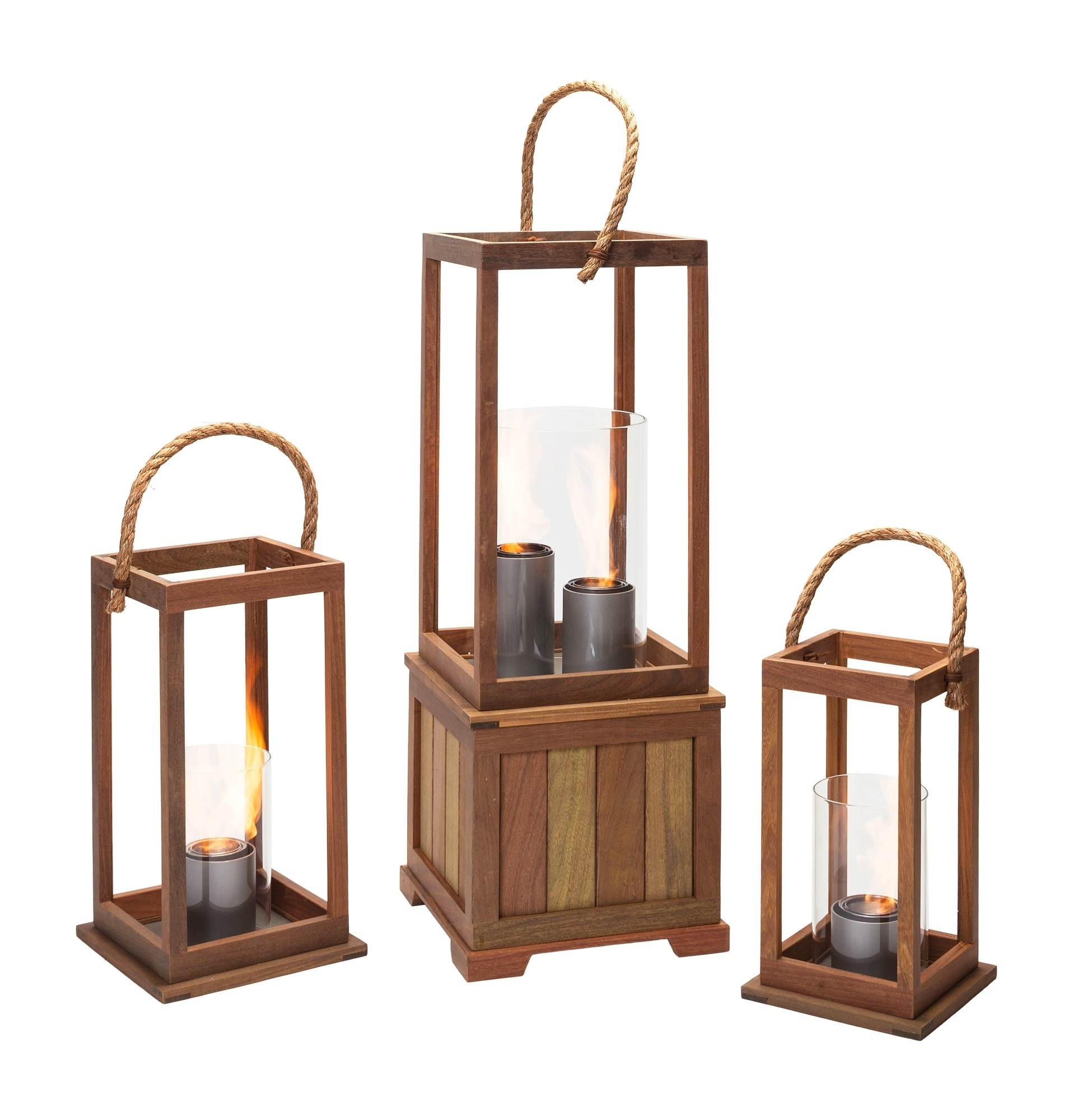 Sonoma 17 Inch Outdoor Lantern In Ipe Woodnorthcape Fire intended for Outdoor Gel Lanterns (Image 13 of 20)