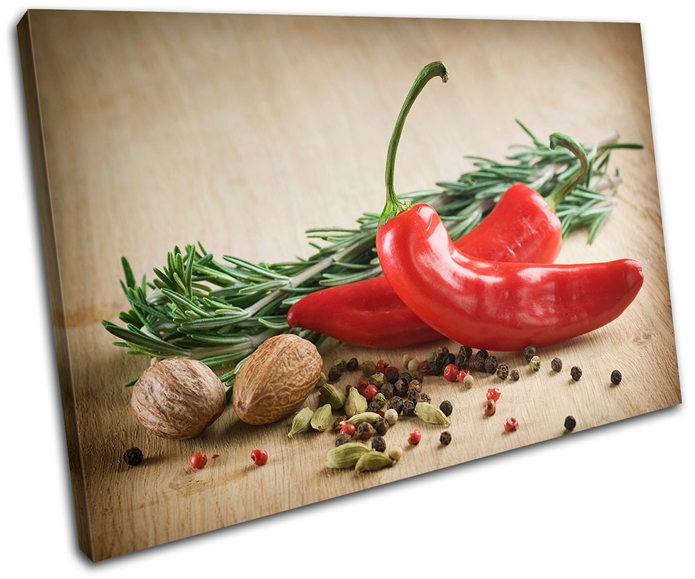 Spices Chili Pepper Food Kitchen Single Canvas Wall Art Picture In Kitchen Canvas Wall Art (View 9 of 20)