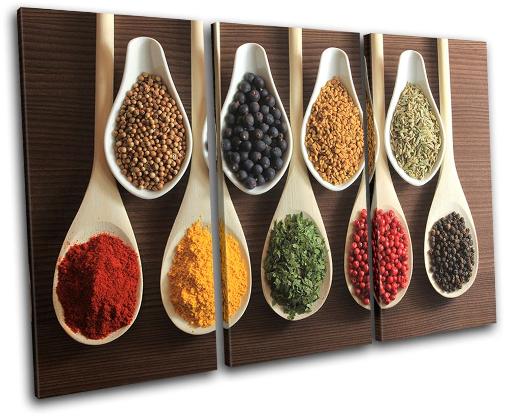 Spices Indian Food Kitchen Treble Canvas Wall Art Picture Print Va Throughout Kitchen Canvas Wall Art (View 5 of 20)