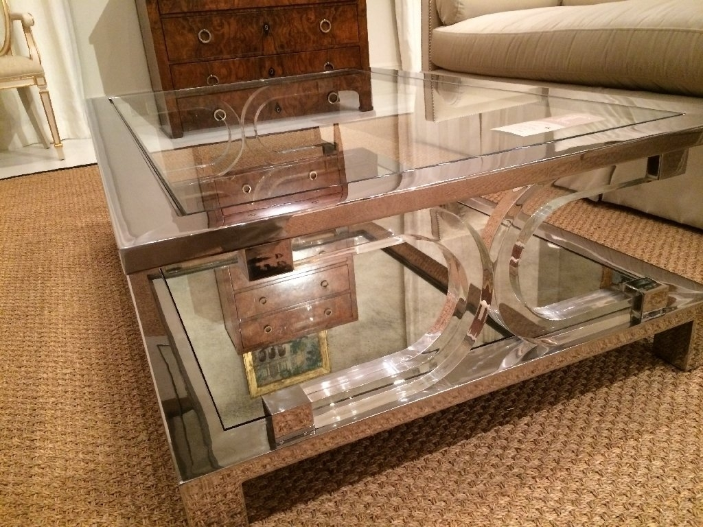 Square Lucite Coffee Table Modern Acrylic Clear With Inside 20 pertaining to Acrylic Glass and Brass Coffee Tables (Image 28 of 30)
