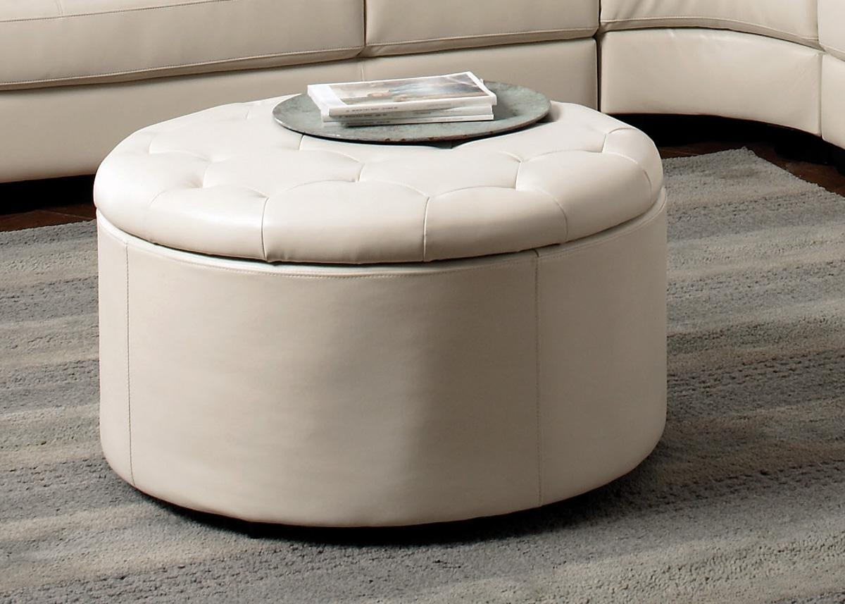 Square Ottoman Coffee Table With Storage And Tray Fabric Round pertaining to Round Button Tufted Coffee Tables (Image 29 of 30)