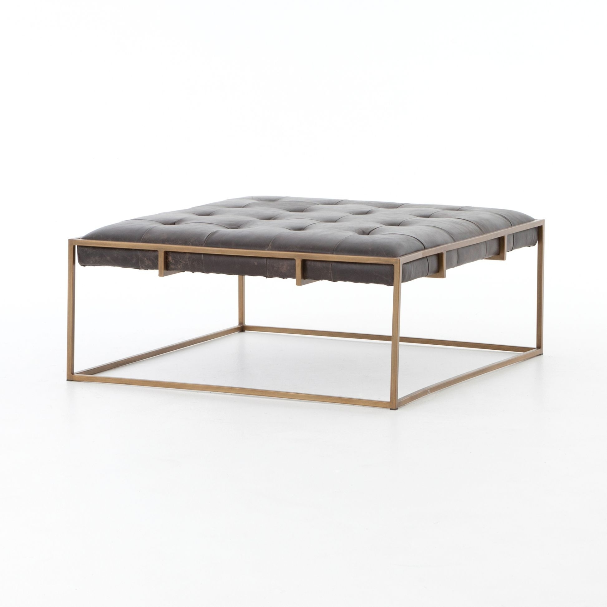 Square Tufted Leather Coffee Table Ottoman | Design | Pinterest regarding Rectangular Brass Finish and Glass Coffee Tables (Image 23 of 30)
