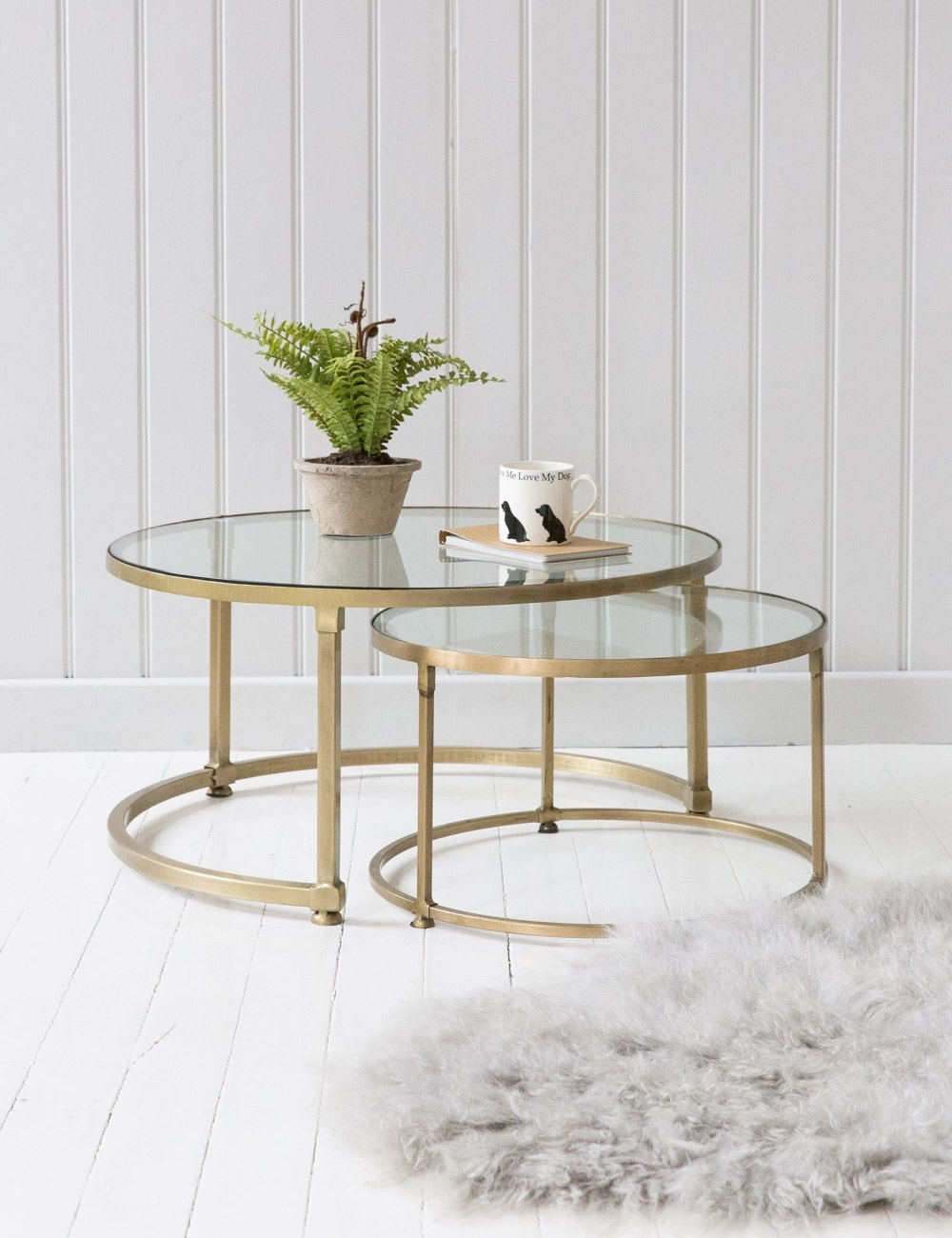 Stacking Round Glass Coffee Table Set | Rose & Grey with Set of Nesting Coffee Tables (Image 29 of 30)