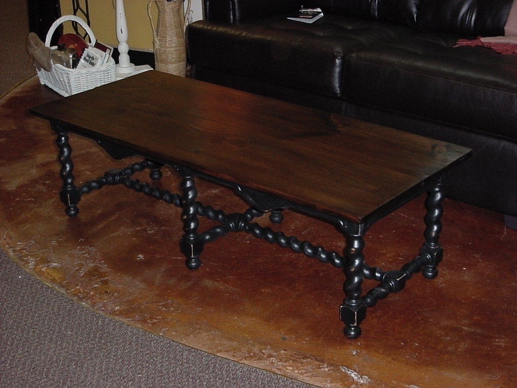 "Stained Top Coffee Table On ""Barley Twist"" Base (Approx: 24″ X 53 for Barley Twist Coffee Tables (Image 25 of 30)"