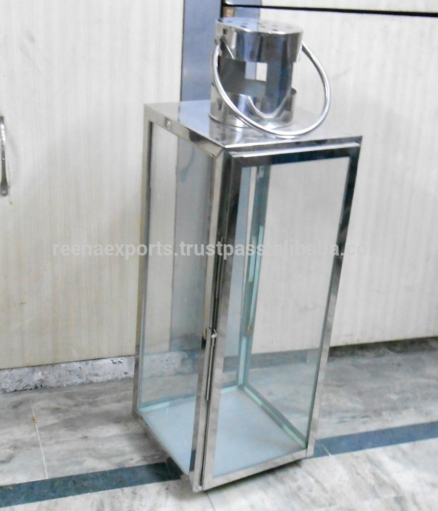 Stainless Steel Outdoor Large Clear Glass Hurricane Lantern / Steel inside Outdoor Hurricane Lanterns (Image 18 of 20)