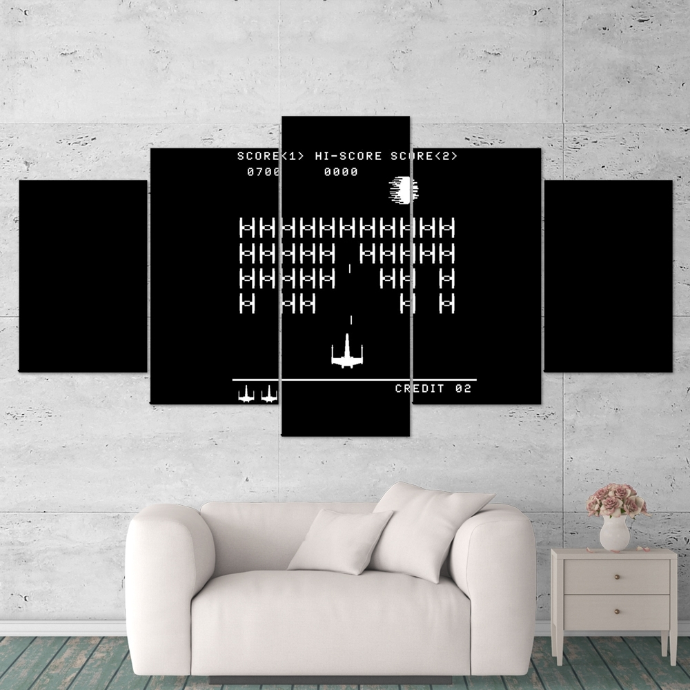Star Wars 06 Retro Game Black White 5 Piece Canvas Wall Art Gaming for Black And White Canvas Wall Art (Image 19 of 20)