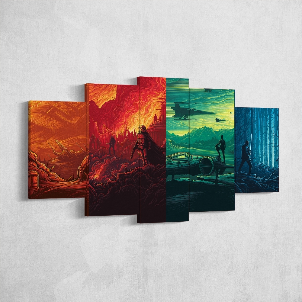 Star Wars 08 Force Awakens Art Work 5 Piece Canvas Wall Art Gaming within 5 Piece Canvas Wall Art (Image 17 of 20)
