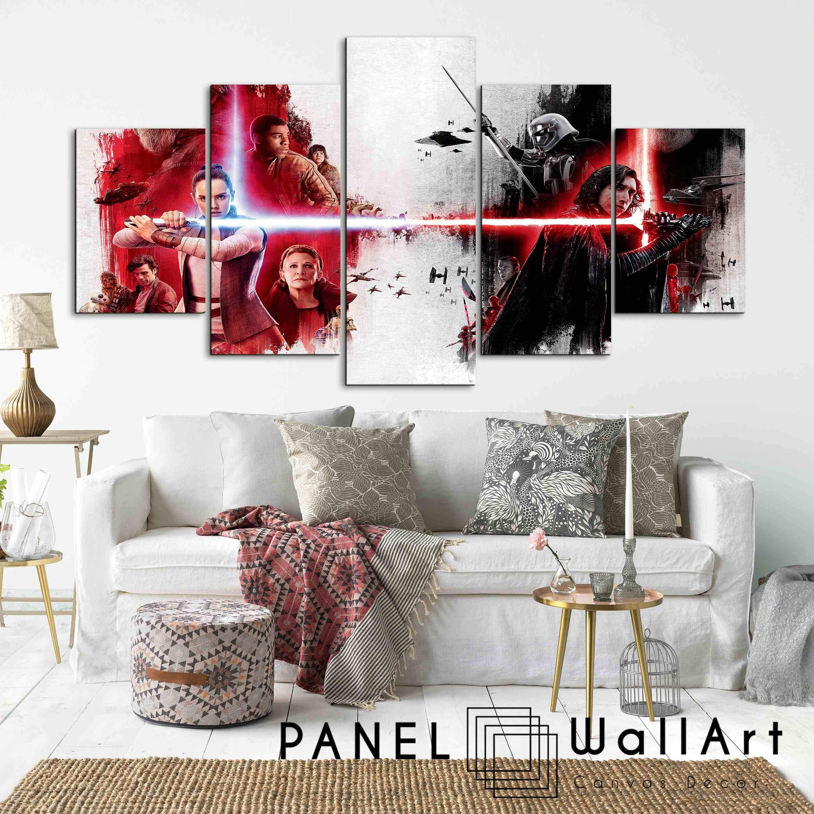 Star Wars The Last Jedi | Panel Wall Art Panelwallart Throughout Star Wars Wall Art (View 14 of 20)