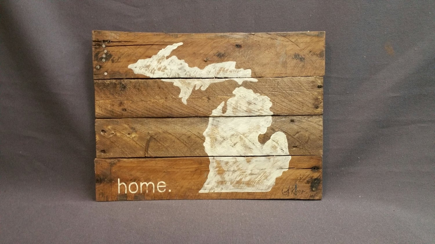 State Of Michigan Reclaimed Wood Pallet Wall Art Gift Hand, Pallet in Michigan Wall Art (Image 16 of 20)
