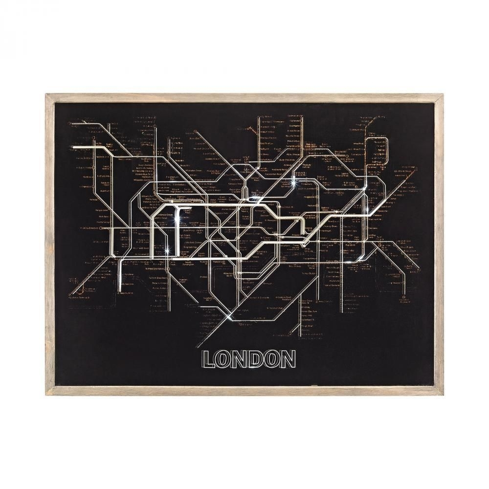 Sterling Industries Wall Art Tubetime Grey With Black 24 Inch Wood Pertaining To Tube Map Wall Art (View 17 of 20)