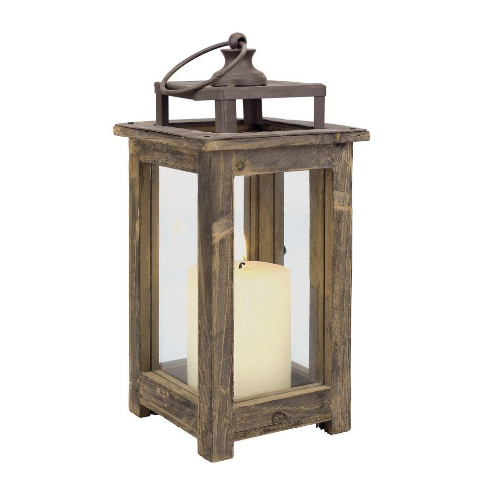 Stonebriar Collection 12 In. H Rustic Wood Lantern-Sb-4476A - The inside Outdoor Wood Lanterns (Image 17 of 20)