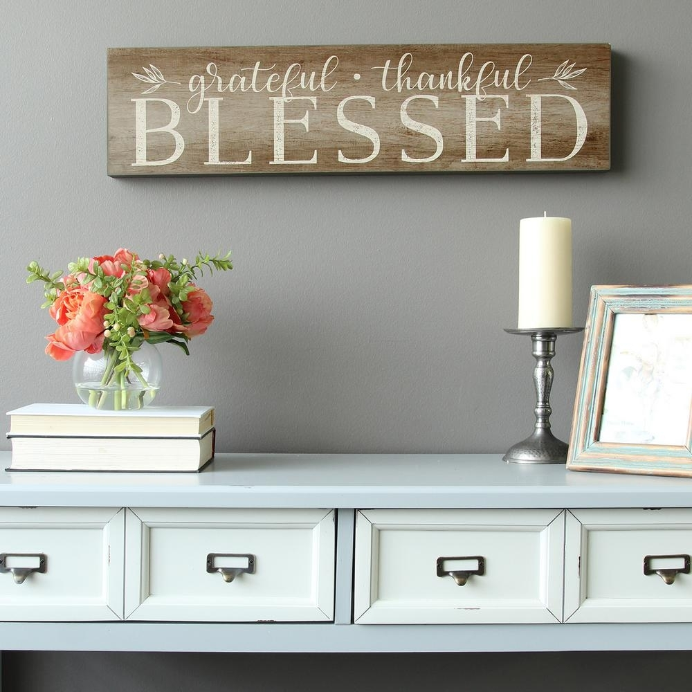 """Stratton Home Decor """"grateful, Thankful, Blessed"""" Decorative Sign throughout Home Decor Wall Art (Image 15 of 20)"""