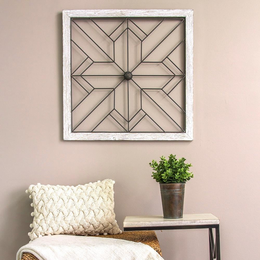 Stratton Home Decor Square Metal And Wood Art Deco Wall Decor-S09600 with Home Decor Wall Art (Image 16 of 20)