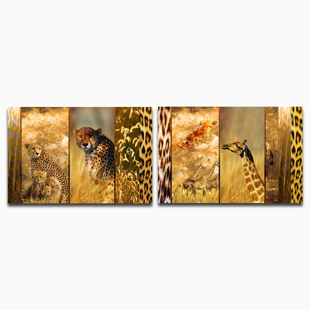 Stretched And Framed Canvas Print Wall Art Leopard And Giraffe intended for Bird Framed Canvas Wall Art (Image 20 of 20)
