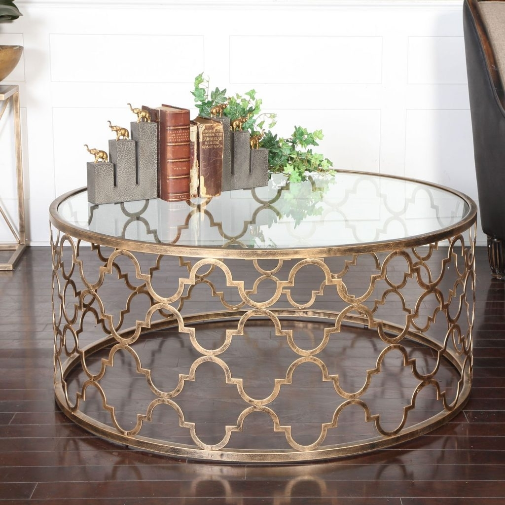 Strikingly Ideas Gold Coffee Tables Uttermost Quatrefoil Table 25015 in Cuff Hammered Gold Coffee Tables (Image 29 of 30)