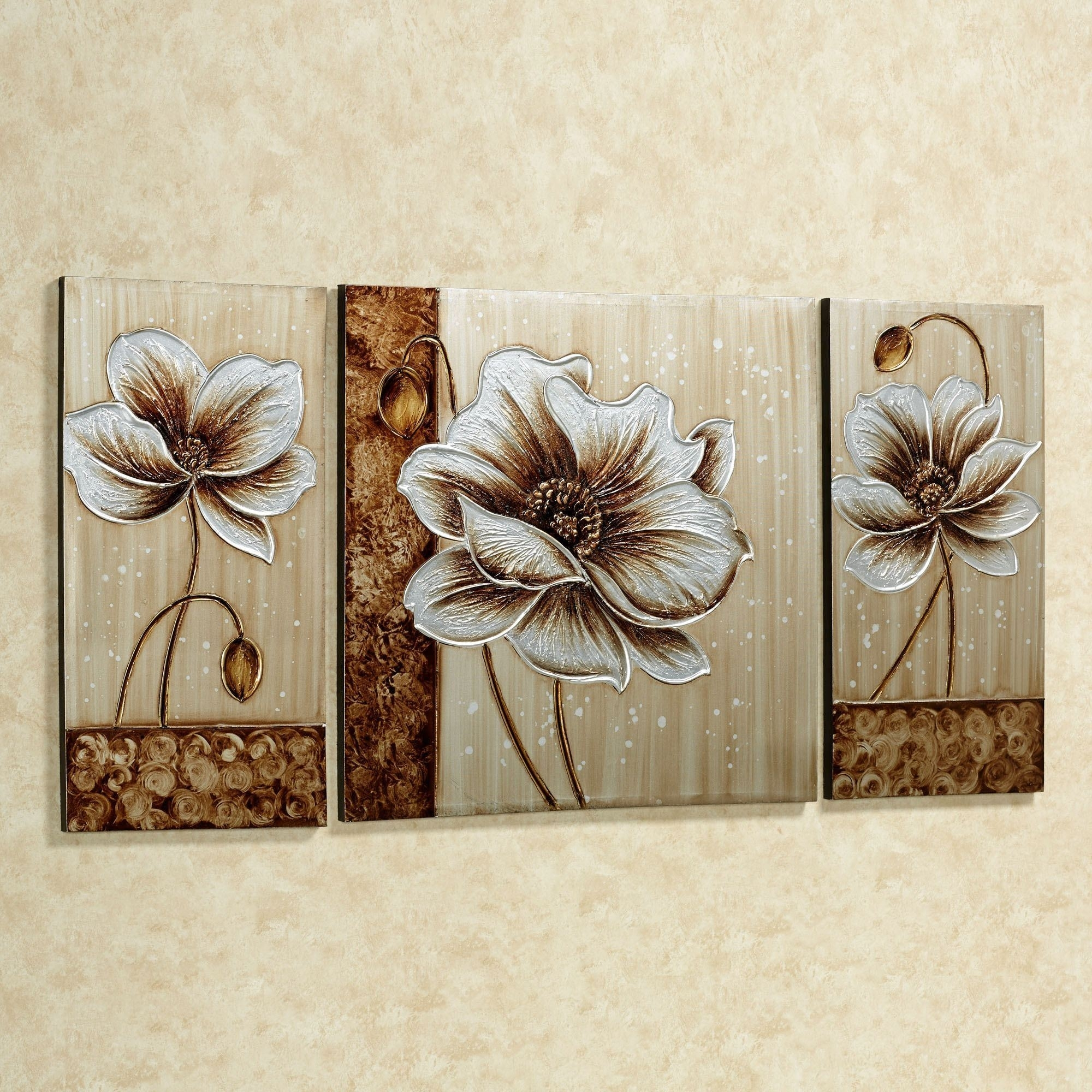 Subtle Elegance Floral Canvas Wall Art Set In Metallic Wall Art (View 8 of 20)