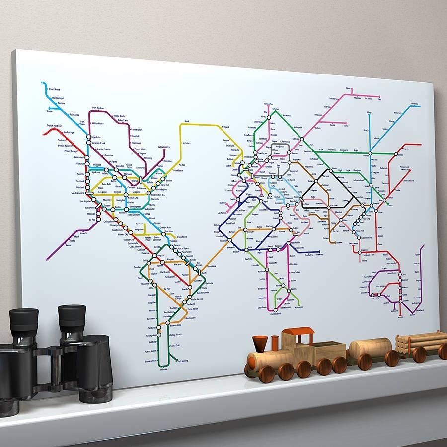 Subway Tube Metro World Map Art Printartpause Regarding Tube Map Wall Art (View 2 of 20)