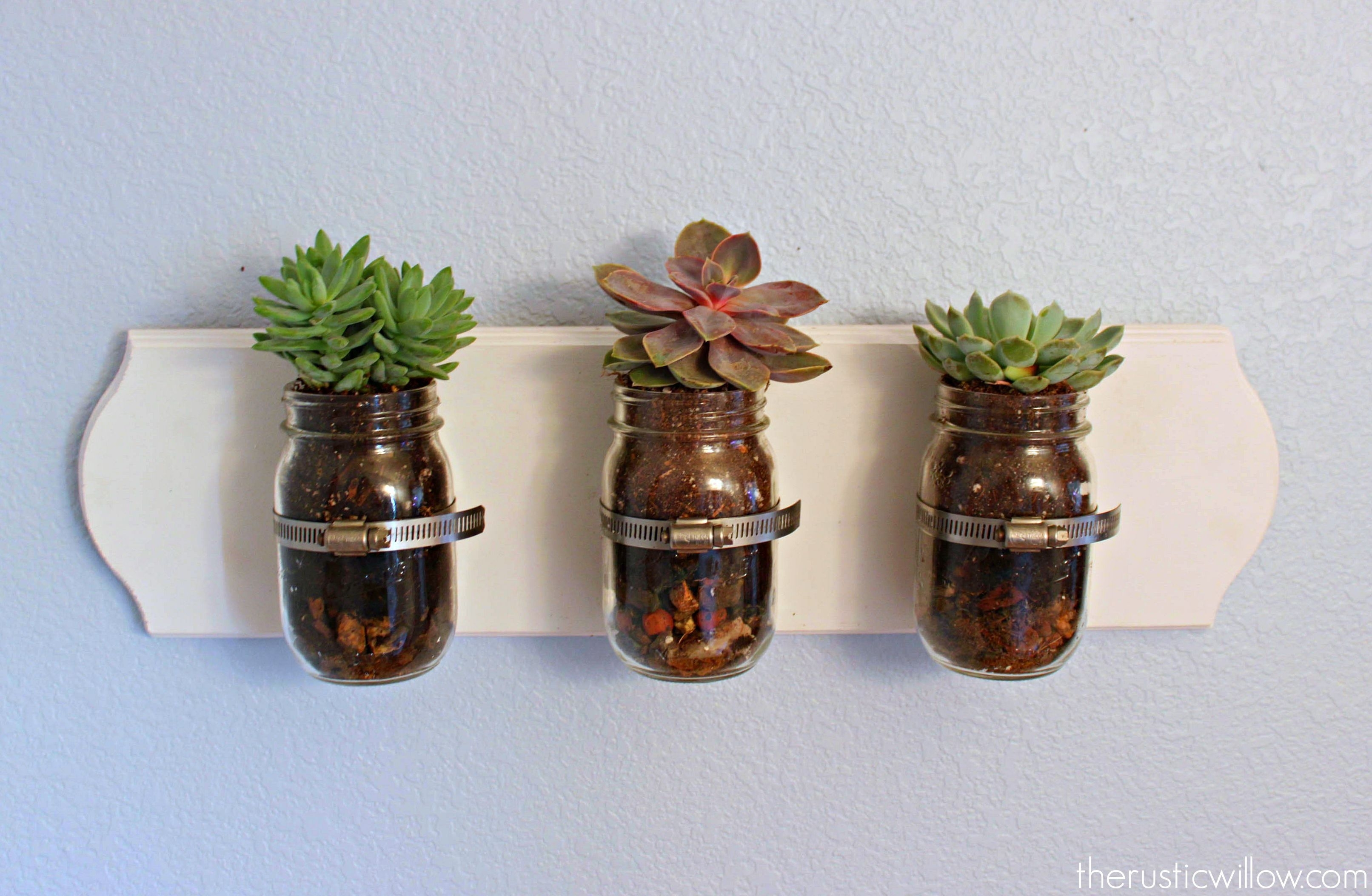 Succulent Mason Jar Wall Art - The Rustic Willow intended for Mason Jar Wall Art (Image 17 of 20)