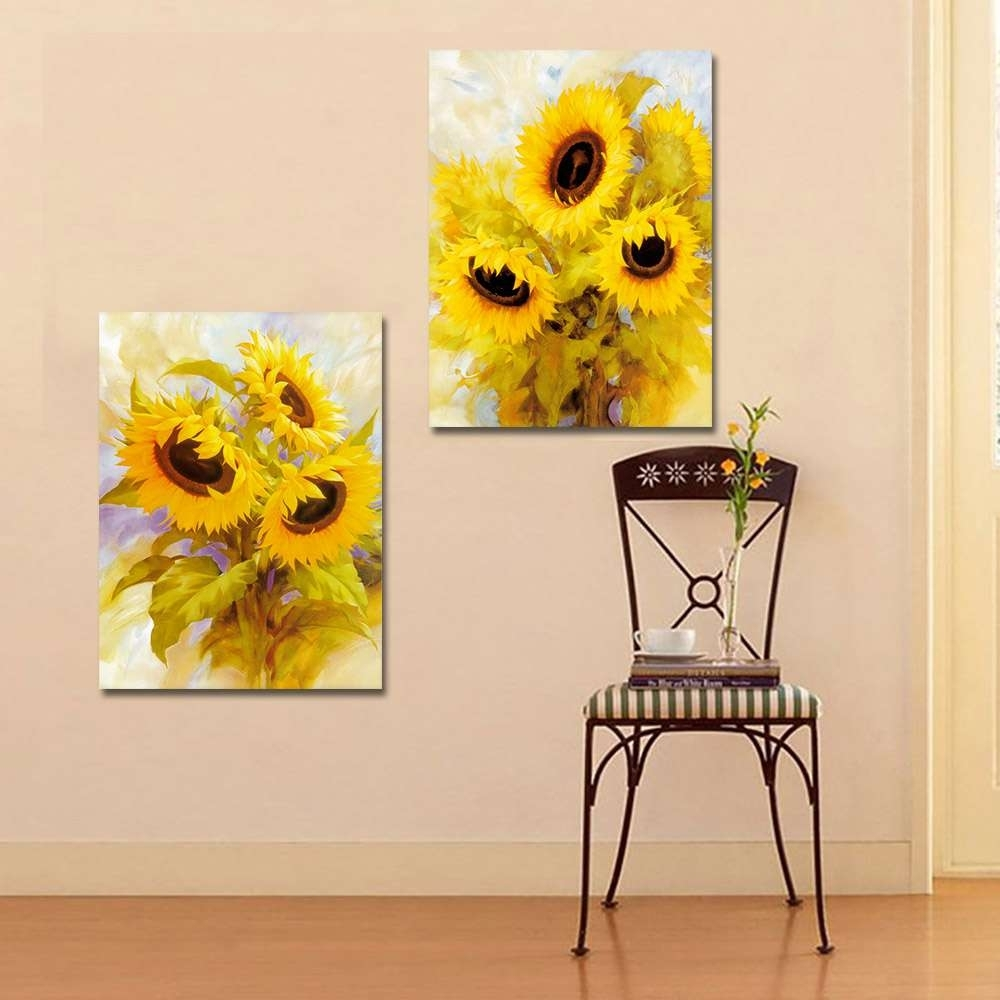 Sunflower Bedroom Decor New Sunflower Gardenia Flower Art Wall Art regarding Sunflower Wall Art (Image 14 of 20)
