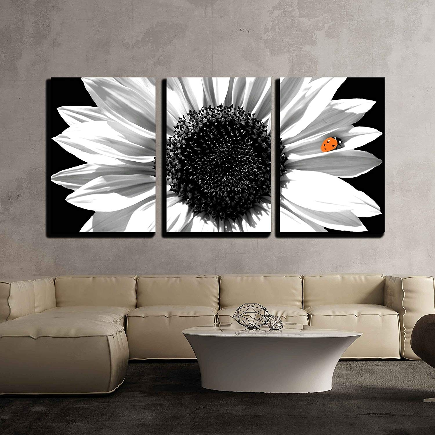 Sunflower In Black And White Wall Decor X3 Panels - Canvas Art | Wall26 for Black Wall Art (Image 19 of 20)