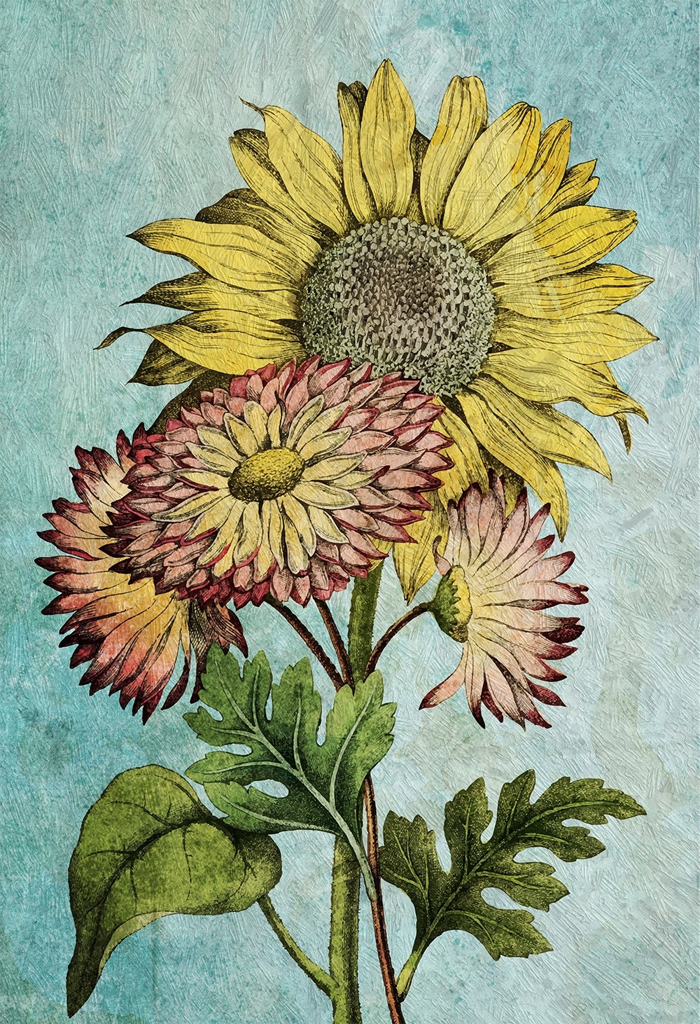Sunflowers Vintage Home Decor Wall Art Shabby Chic Gift Botanical inside Sunflower Wall Art (Image 18 of 20)