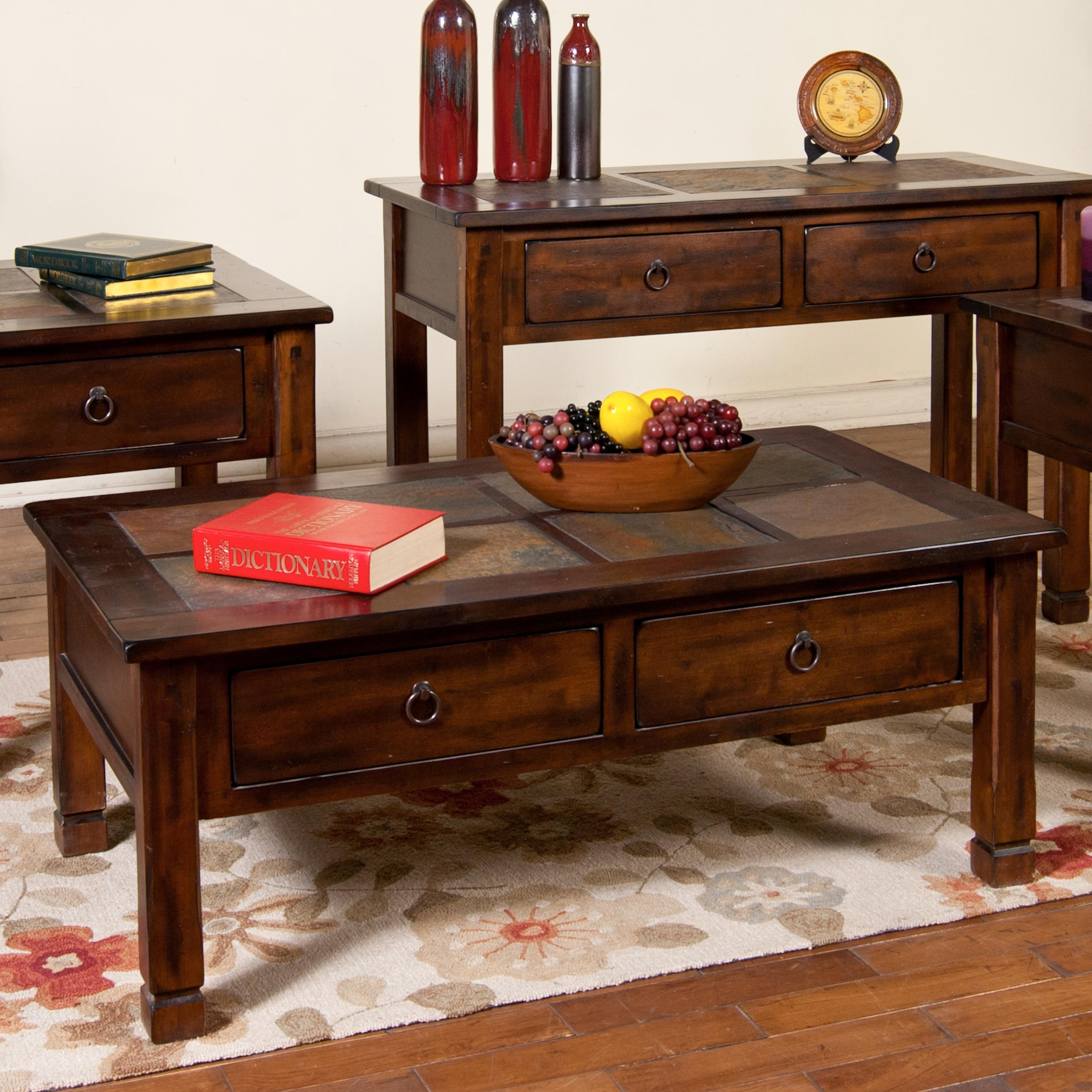 Sunny Designs Santa Fe 3143Dc Coffee Table With Slate Tiles And 2 for Santa Fe Coffee Tables (Image 22 of 30)