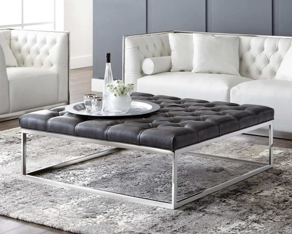Sunpan Modern Club Sutton Cocktail Ottoman & Reviews | Wayfair in Mill Large Leather Coffee Tables (Image 27 of 30)