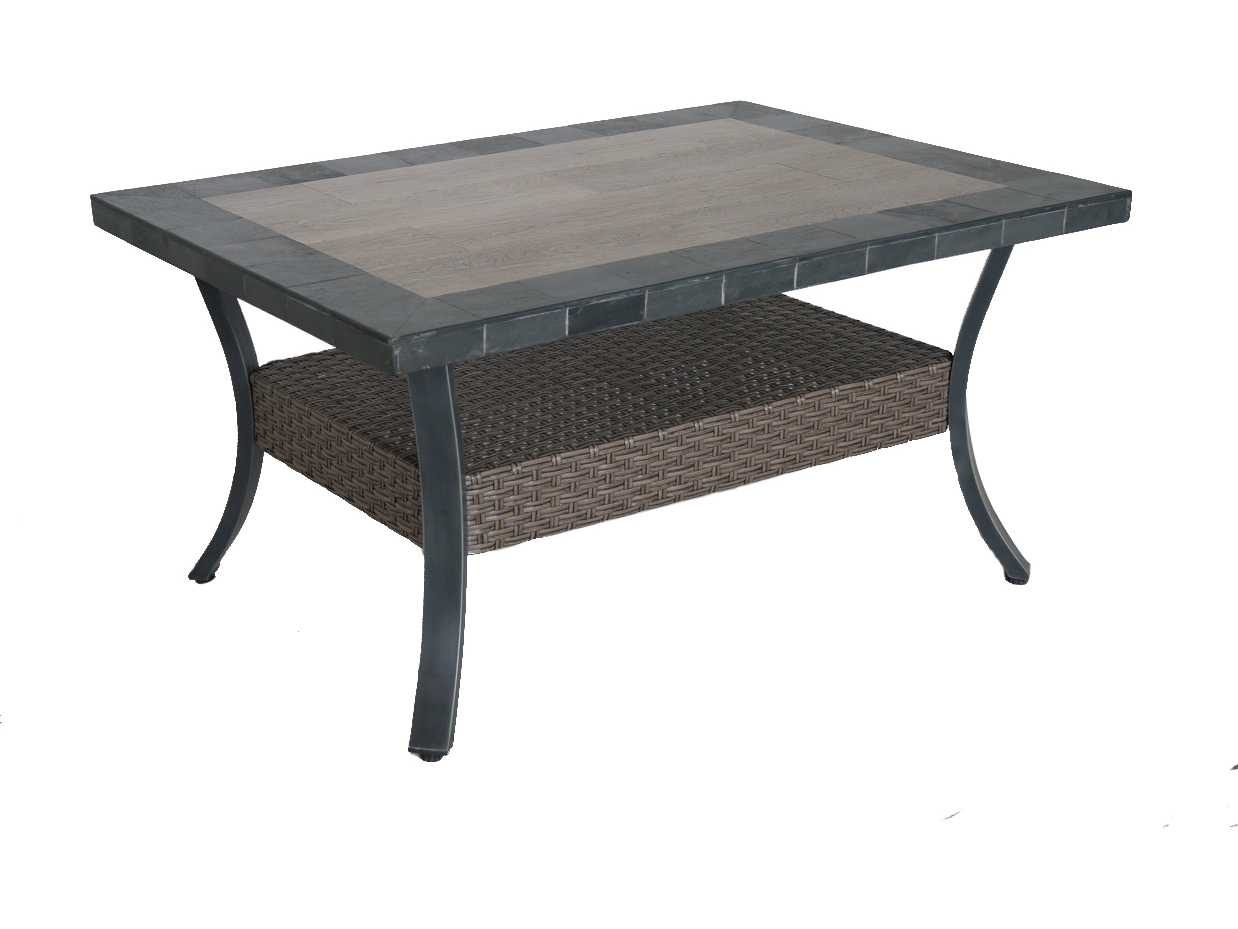 Sunvilla Belize Aluminum Wicker 44 X 32 Rectangular Stone Top Coffee In Stone Top Coffee Tables (View 26 of 30)