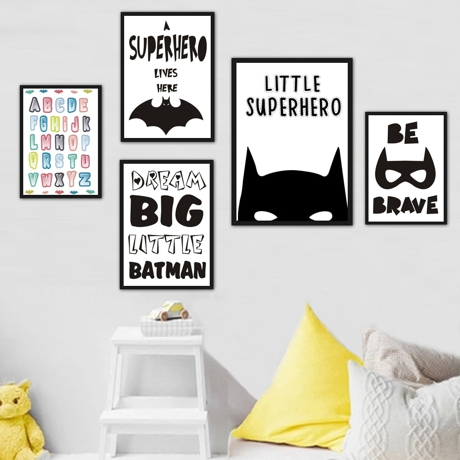 Superhero Batman Canvas Painting Inspiring Quotes Wall Art Pictures Regarding Batman Wall Art (View 13 of 20)