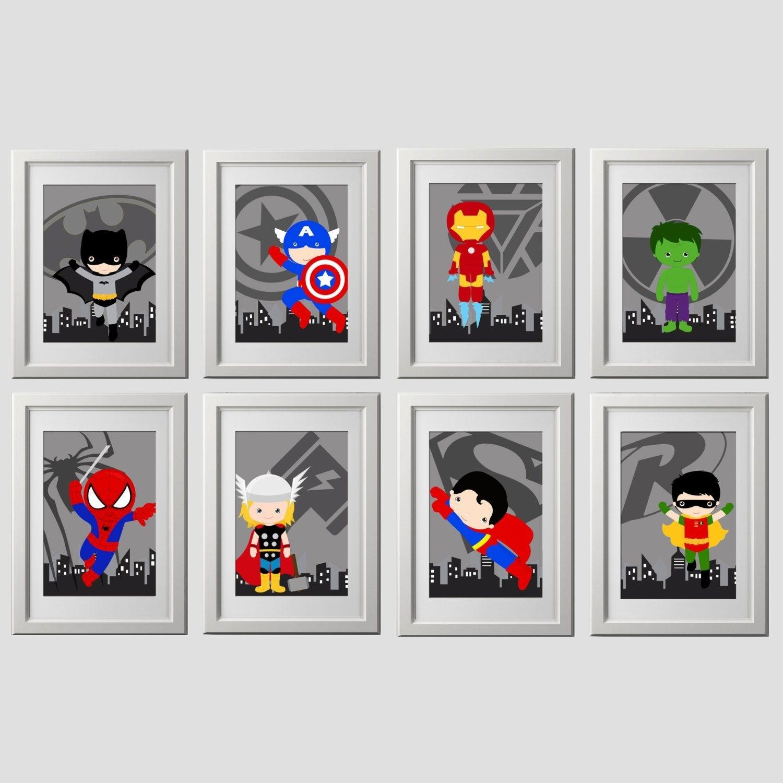 Superhero Wall Art Prints, Set Of 8, Super Hero Wall Art, Superhero For Superhero Wall Art (View 16 of 20)