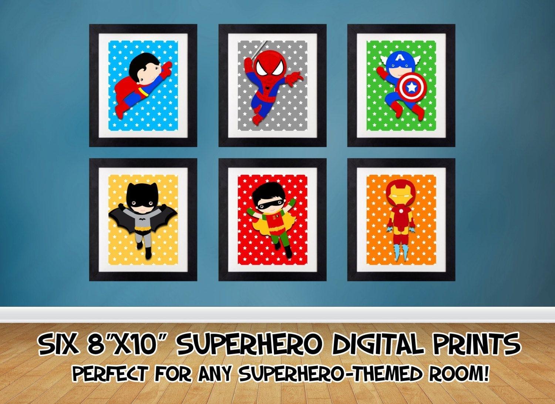 Superhero Wall Art, Superhero Posters, Bedroom Prints Nursery Prints With Superhero Wall Art (View 18 of 20)
