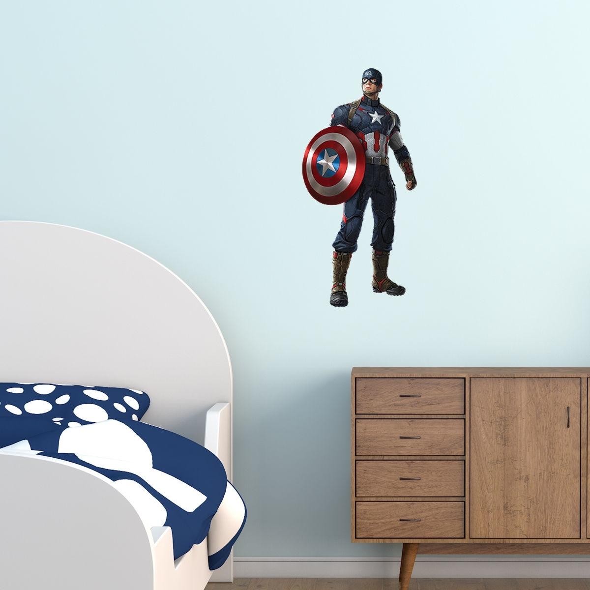 Superheroes Kids Boy Girls Bedroom Vinyl Decal Wall Art Sticker Gift regarding Captain America Wall Art (Image 19 of 20)