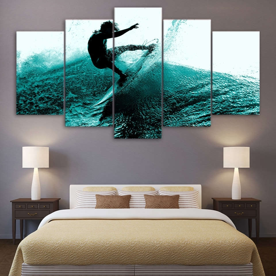Surfing Hitting The Waves Wall Art Multi Panel Canvas – Mighty Paintings for Multi Panel Wall Art (Image 18 of 20)