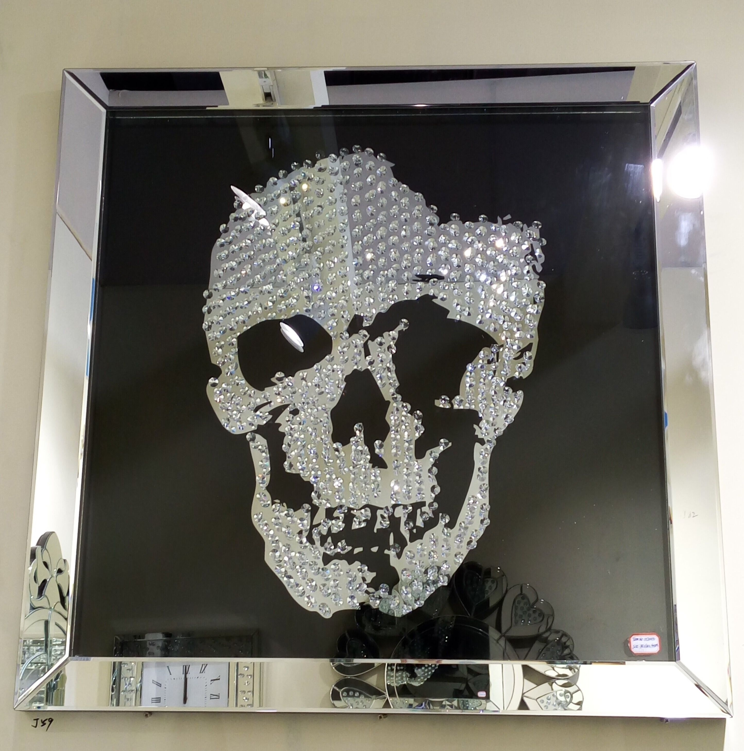 Swarovski Crystal Skull Wall Art With A Silver Mirrored Frame And with regard to Mirrored Wall Art (Image 15 of 20)