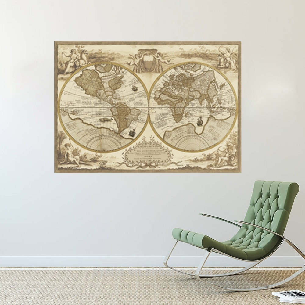 Syene Wholesale Large Vintage World Map Wall Stickers Home for Vintage Map Wall Art (Image 12 of 20)