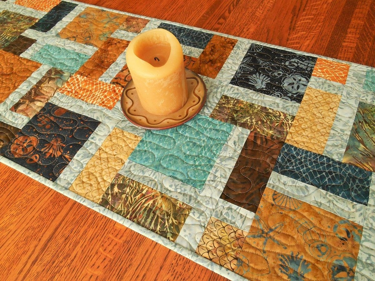 Table Decor, Quilted Batik Table Runner, Blue Brown Rust And Gold within Batik Coffee Tables (Image 29 of 30)