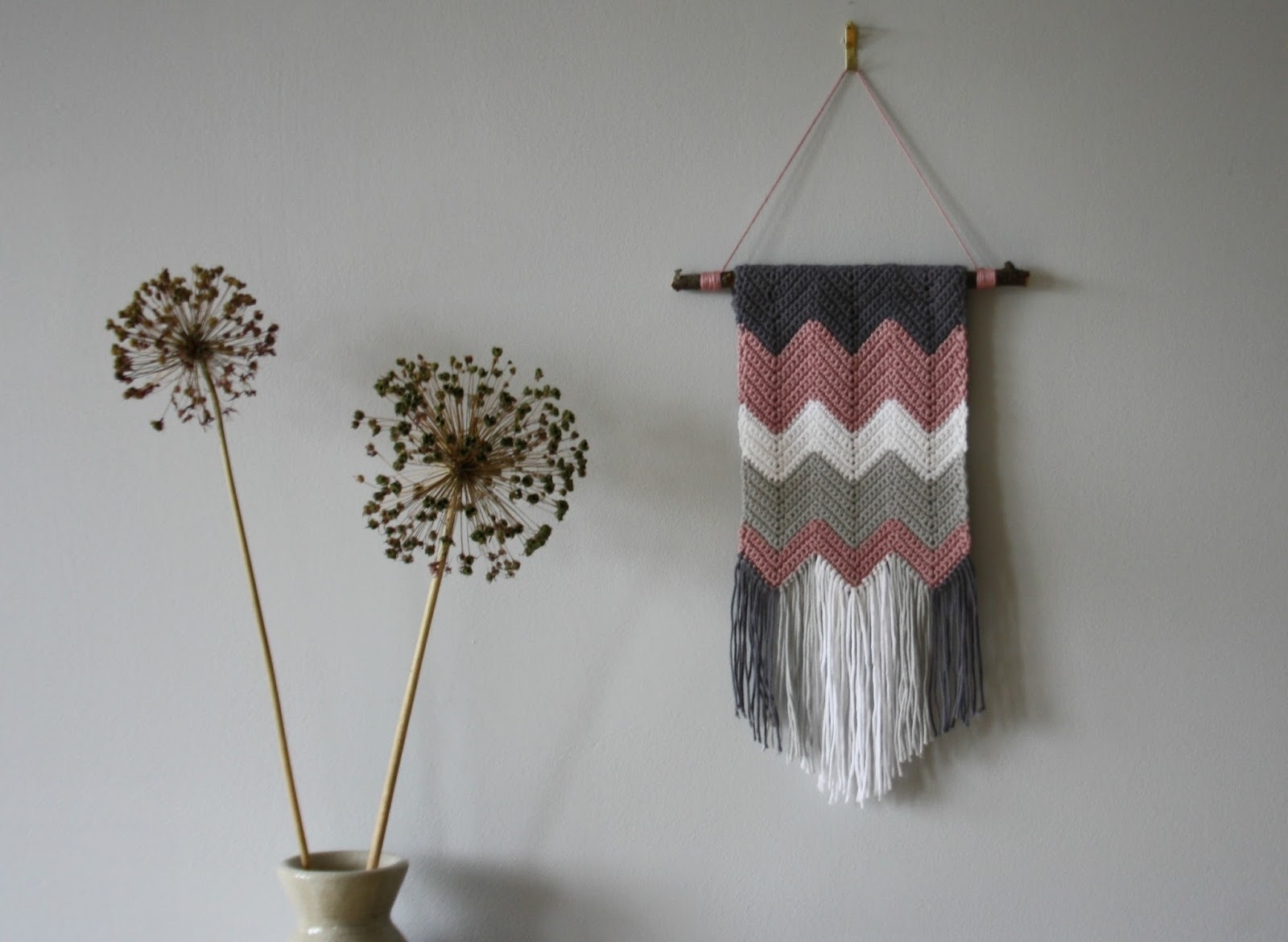 Tales From A Happy House.: A Crocheted Zigzag Wall Hanging within Crochet Wall Art (Image 20 of 20)