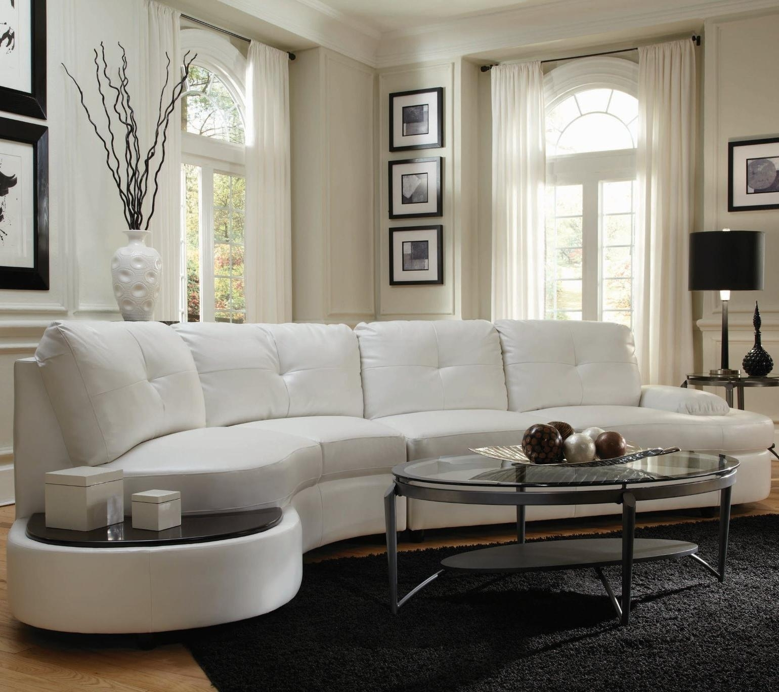Talia Contemporary Sectional Conversation Sofa With Built In Table Within Contemporary Curves Coffee Tables (View 26 of 30)