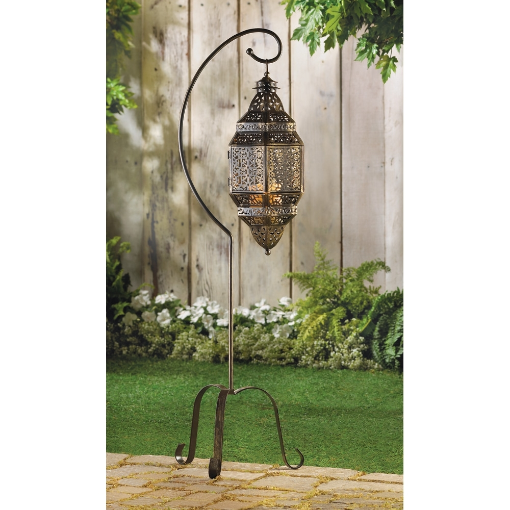 Tall Iron Moroccan Standing Metal Candle Lantern Stand, Best-Decor pertaining to Outdoor Lanterns on Stands (Image 20 of 20)