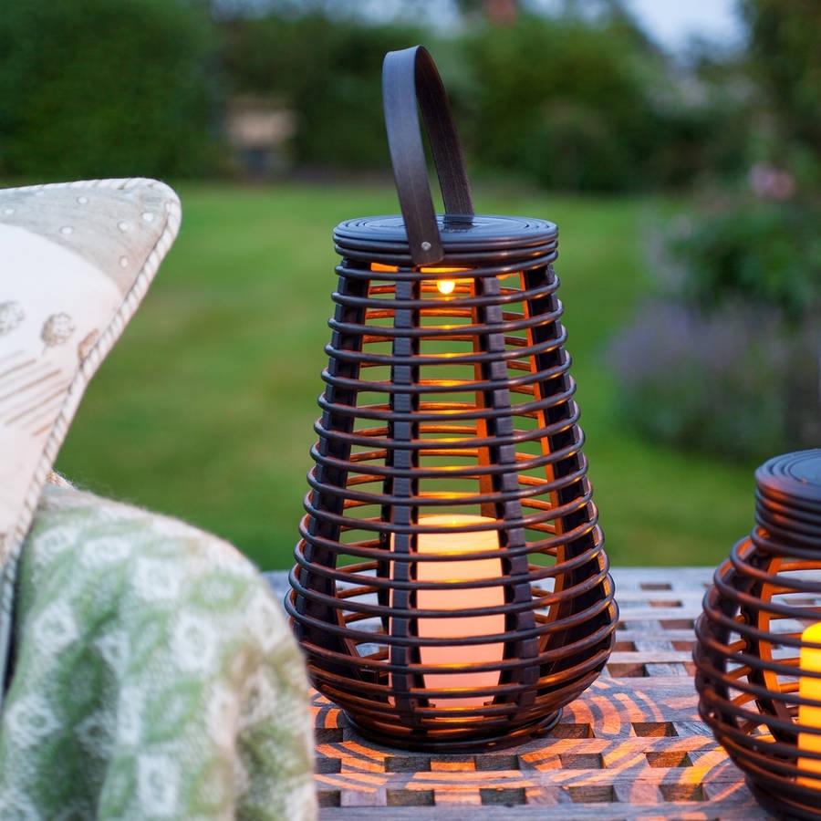 Tall Solar Rattan Lantern Lightlights4Fun | Notonthehighstreet with regard to Outdoor Rattan Lanterns (Image 17 of 20)