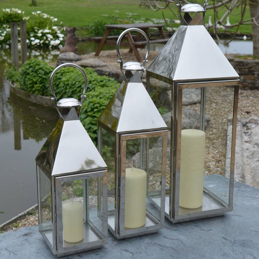 Tall Stainless Steel Garden Candle Lanternza Za Homes inside Outdoor Tea Light Lanterns (Image 19 of 20)