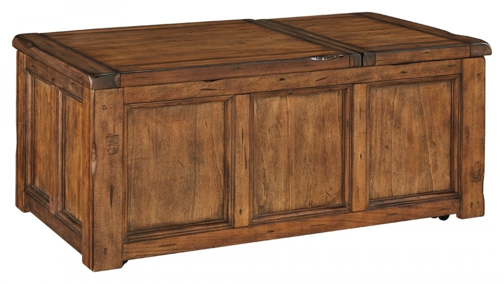 Tamonie - Medium Brown - Rect Lift Top Cocktail Table | T830-9 inside Chiseled Edge Coffee Tables (Image 25 of 30)